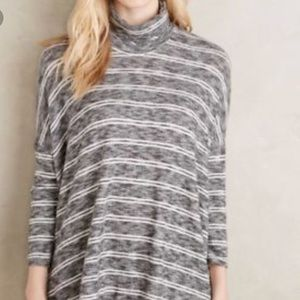 Postmark Anthropologie gray slub stripe M top
